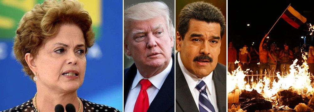 """""""Eu acredito que a visão que se divulga no Ocidente a respeito da Venezuela é irresponsável. Acho um absurdo o tratamento da imprensa internacional à Venezuela. Vão criar, aqui na América Latina, depois de 140 anos de paz, um grande conflito armado, assim como fizeram no Iraque e no Afeganistão"""", disse a presidente deposta Dilma Rousseff, em sua entrevista à BBC; dias atrás, o presidente dos Estados Unidos, Donald Trump, ameaçou intervir militarmente para derrubar o governo de Nicolás Maduro; Venezuela, que tem as maiores reservas de petróleo do mundo, tenta resistir; no Brasil, que tem o pré-sal, golpe parlamentar subordinou o País aos interesses norte-americanos"""