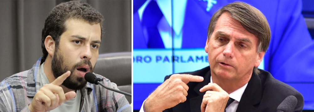"""""""Bolsonaro ofende a lógica ao defender 'armas para todos' no combate à insegurança. É como oferecer cachaça para acabar com alcoolismo"""", postou no Twitter Guilherme Boulos, líder do MTST e da Frente Povo Sem Medo"""