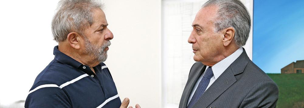 Encontro do ex-presidente do Brasil ,Luis Ignacio Lula da Silva com o vice-presidente do Brasil, Michel Temer