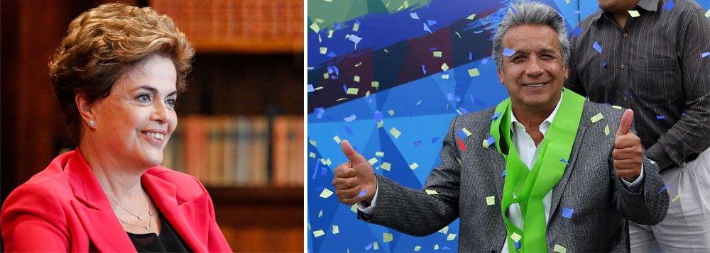 """""""Celebramos todos a importante vitória de Lenín Moreno, no Equador. Sabemos como é duro o embate entre os que têm compromisso com a vontade popular e aqueles que fazem sempre outra opção, seja pelo mercado ou pela defesa de interesses estranhos aos sonhos da maioria das nossas sociedades"""", disse a ex-presidente Dilma Rousseff, em nota;opositor de Moreno, o candidato de direita Guillermo Lasso quer agora impugnar o resultado da eleição, como fez Aécio Neves no Brasil em 2014; """"O povo do Equador e da América Latina reconhecem em Lenín Moreno o espírito de todos nós que lutamos, incansavelmente, por dias melhores e que buscamos o fim das desigualdades sociais"""", acrescenta Dilma"""
