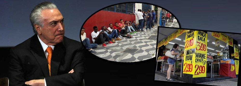 Pesquisa do instituto Vox Populi, encomendada e divulgada pela CUT, aponta que o governo Michel Temer, aprovado por apenas 3% dos brasileiros, é considerado culpado pelo desemprego que atinge mais de 14,5 milhões de trabalhadores e pela recessão econômica; para 52% dos entrevistados, a vida piorou com Temer no poder; a renda dos trabalhadores também sofreu um baque após o impeachment; 56% acreditam que ela diminuiu, contra 39% que acham que nada mudou e apenas 4% que acreditam que aumentou