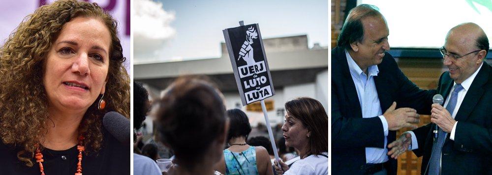 """""""Com quase meio milhão em déficit de moradias, mais de 1 milhão de desempregados, trabalhadores com dívidas crescentes, cenas cotidianas de guerra urbana e uma universidade estadual ameaçada, o Rio de Janeiro corajosamente resiste neste 7 de setembro"""", escreve a deputada Jandira Feghali (PCdoB-RJ), que fala ainda em um """"governo estadual fracassado"""", """"refém de um governo federal quadrilheiro e sem pudor""""; Jandira também critica o documento editado pelo ministro Henrique Meirellescom orientação de """"rever a oferta de ensino superior pelo Rio"""", em meio à crise da UERJ; """"Dom Pedro I ficaria chocado com tamanha canalhice"""", lamenta"""