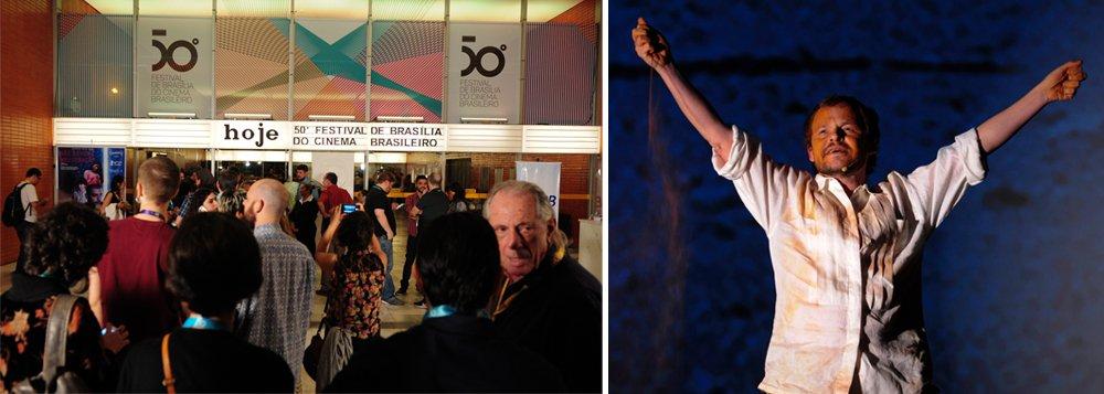 O FORA TEMER não ecoou só no Rock in Rio. Na noite inaugural do Festival de Brasília do Cinema Brasileiro, o ator Matheus Nachtergaele, depois de arrepiante performance – evocando os candangos (trabalhadores que construíram e povoaram Brasília, e a terra vermelha do cerrado para lembrar os 50 anos de história do mais antigo festival do país) – gritou FORA TEMER e foi acompanhado por coro poderoso