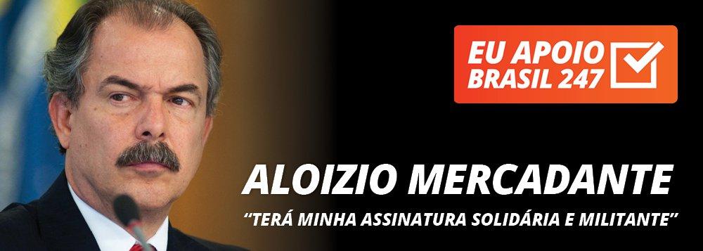"""O professor Aloizio Mercadante, que foi ministro da Casa Civil e da Educação no governo da presidente Dilma Rousseff,apoia a campanha de assinaturas solidárias do 247. """"A luta contra o golpe, a luta da resistência democrática, a luta em defesa dos interesses nacionais, contra as privatizações e o desmonte do estado brasileiro, a luta contra a retirada dos direitos trabalhistas e os retrocessos nas políticas sociais exige uma nova imprensa, uma imprensa verdadeiramente livre"""", diz ele. """"Por isso, ele vai ter a minha assinatura solidária, a minha assinatura militante, a minha assinatura solidária com o projeto do Brasil 247"""""""
