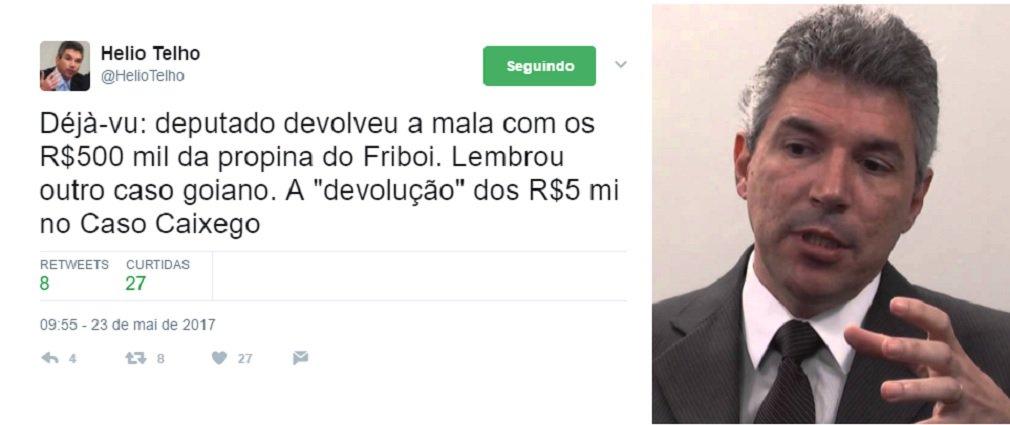 """""""Déjà-vu: deputado devolveu a mala com os R$500 mil da propina do Friboi. Lembrou outro caso goiano. A """"devolução"""" dos R$5 mi no Caso Caixego"""", escreveu o procurador da República, que atua em Goiás, Helio Telho; no famoso caso Caixego, em 1998, Iris Rezende e seu irmão Otoniel Machado se tiveram os nomes envolvidos no saque R$ 10 milhões do banco que estava em processo de liquidação; o Ministério Público diz que metade do valor foi usado na campanha de Iris ao governo naquele ano; posteriormente R$ 5 milhões foram devolvidos, mas ficou provado que o dinheiro foi fruto de empréstimo no BNDES, por meio da empresa Allstom"""