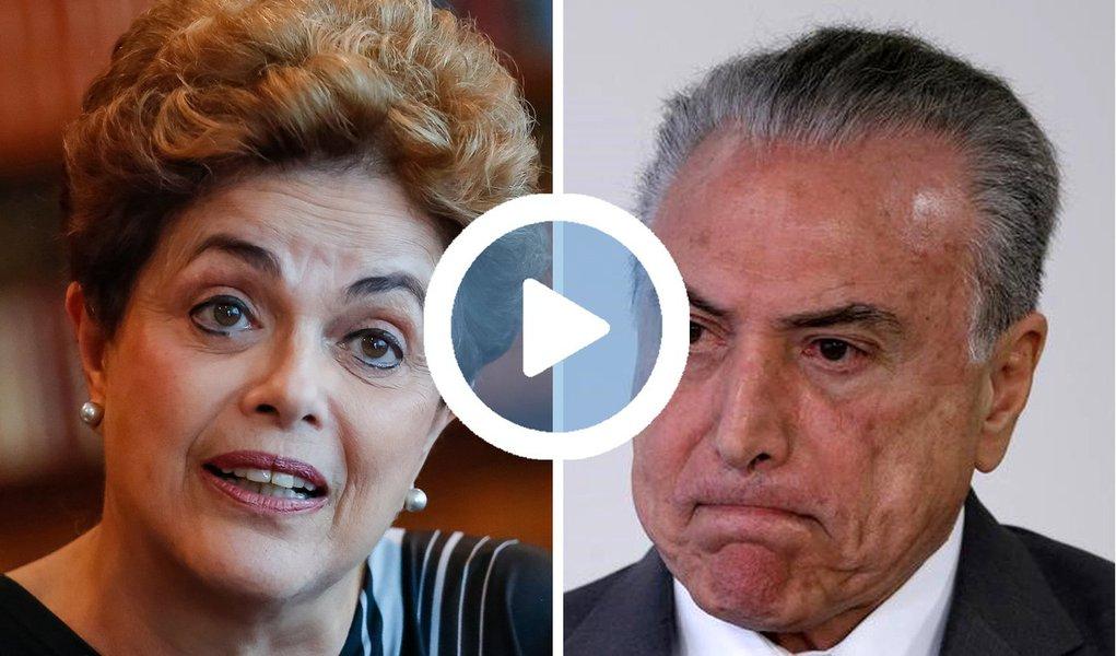 """Nos Estados Unidos, durante encontro com o coletivo """"Boston contra o golpe"""", a presidente deposta pelo golpe disse que """"o Brasil não é uma república de bananas"""" e afirmou acreditar que o TSE não vá cassar o mandato de Michel Temer; """"Não existe a menor hipótese de tirarem o Temer. Não vão, não. É o cara que está fazendo o trabalho sujo. Enquanto ele estiver fazendo esse serviço, a aliança que o sustenta não deixa ele cair"""", destacou; Dilma disse que """"se soubesse do nível de absurda traição"""" de Temer, """"não teria feito parceria"""" com ele; """"Ele não tinha voto nem para deputado federal"""", provocou; para Dilma Rousseff, a """"elite golpista quer tornar a política irrelevante, criando-se condições a uma despolitização grande para surgimento de salvadorezinhos da pátria""""; assista"""