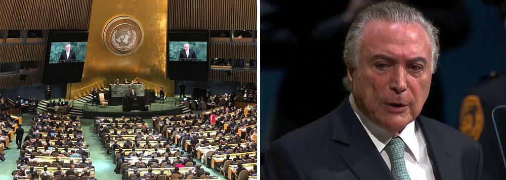 """Depois de conquistar o poder por meio de um golpe parlamentar, Michel Temer diz na Assembleia Geral das Nações Unidas que """"não há espaço fora da democracia"""", ao comentar a questão venezuelana; ele também falou sobre ajuste fiscal embora tenha produzido rombo anual de R$ 159 bilhões – numa meta que deve ser ampliada ainda mais; Temer, que está prestes a abrir o pré-sal, também prometeu um Brasil mais aberto ao mundo"""