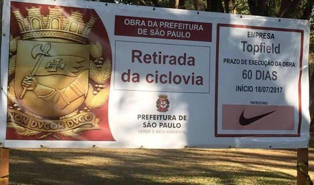A lógica privatista da gestão Doria chegou ao ponto de uma empresa do ramo de esportes patrocinar a retirada de uma ciclovia no Parque do Ibirapuera, um dos primeiros da lista da prefeitura a serem vendidos; uma das primeiras obras patrocinadas pela Nike no parque é a remoção de uma ciclovia no parque da zona sul de SP