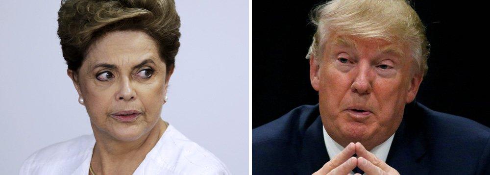 """""""Há alguns anos eu teria dito que isso é impossível"""", disse Dilma Rousseff em entrevista ao The Washington Post; """"Agora eu posso dizer que é muito possível. Na verdade, posso apontar para algumas figuras semelhantes a Trump"""", acrescentou, citando o outsider João Doria, prefeito de São Paulo, e o extremista Jair Bolsonaro, pré-candidato para a disputa de 2018; em um tour por universidades dos Estados Unidos nas últimas semanas, Dilma avaliou na entrevista que o Brasil está sob a influência de uma """"tendência de direita"""" semelhante à da Europa e dos Estados Unidos; sobre seu impeachment, declarouter sido vítima tanto da precipitação tumultuada da crise financeira global quanto do cinismo de seus adversários políticos"""