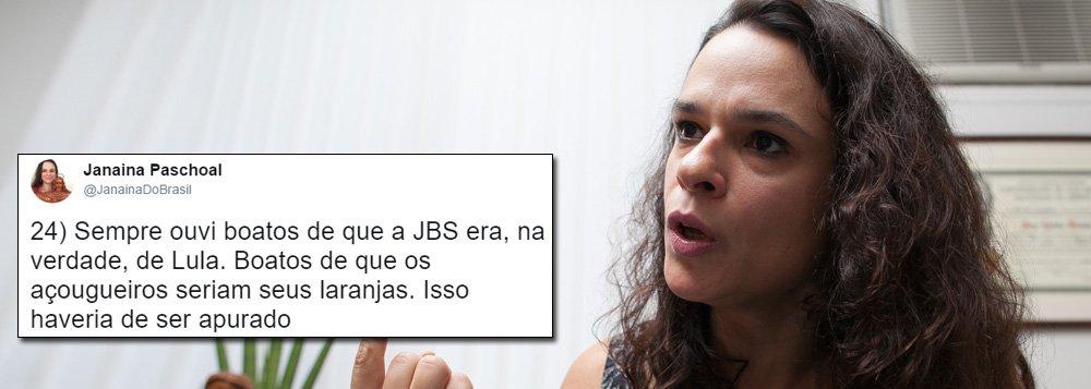 """A advogada Janaína Paschoal, coautora do pedido de impeachment contra Dilma Rousseff, foi alvo de piadas e ironias no Twitter nesta quarta-feira 21 depois de dizer que devem ser apurados """"os boatos de que a JBS era, na verdade, de Lula"""" e """"de que os açougueiros seriam seus laranjas""""; segundo ela, o empresário Joesley Batista, o verdadeiro dono da empresa, """"blinda"""" o ex-presidente; """"O dono da JBS implicou todo mundo, menos Lula. Será que Lula tem uma grande empresa que não é dele?"""", questiona"""