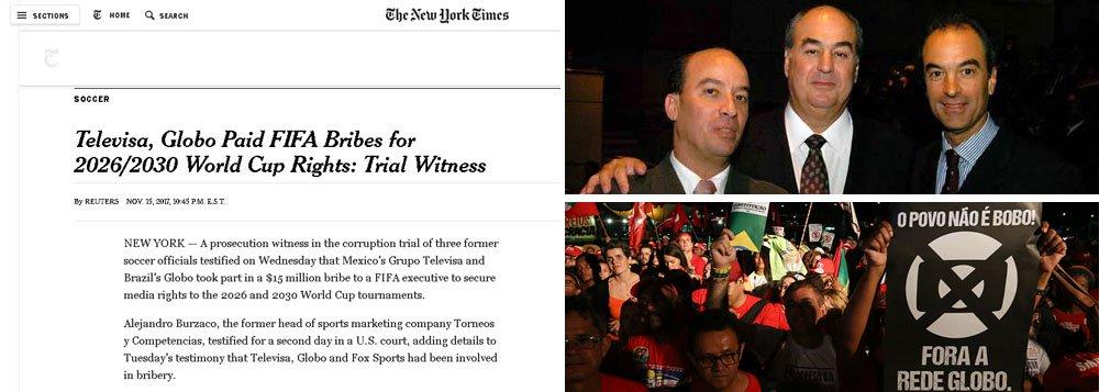 Denúncias do empresário argentino Alejandro Burzaco, de que a Globo pagou propina para obter direitos de transmissão de jogos de futebol, voltou a ser destaque no jornal norte-americano, desta vez com a revelação de que a emissora pagou US$ 15 milhões (R$ 50 milhões) para obter os direitos das Copas de 2026/2030