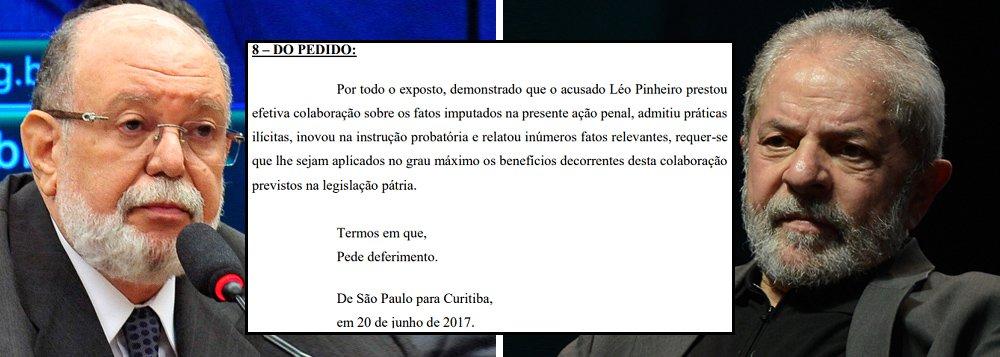 """Em suas alegações finais sobre a ação do triplex do Guarujá, o ex-presidente da OAS Léo Pinheiro que o juiz federal Sérgio Moro reduza dois terços de sua pena por ter confessado que o ex-presidente Lula seria o dono do imóvel no condomínio Solaris; """"Talvez num ato falho, que colocou nome do documento que reproduz as alegação do empresário escolheu com precisão. Chama-se 'A TROCA'"""", relata o jornalista Fernando Brito; """"É isso mesmo, uma troca, um negócio, uma barganha. Para reduzir a condenação, que é único veredito de Sérgio Moro, tão certo quanto a noite vir após o dia, troca-se a condenação alheia por alguns meses de 'finge que eu estou preso em casa'"""""""