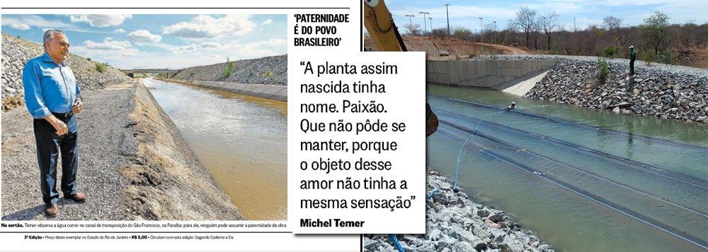 """Sem nenhuma razão editorial, o jornal O Globo, que apoiou os golpes de 1964 e 2016, publicou um poema de Michel Temer na sua capa do último sábado; eis os versos: """"A planta assim nascida tinha nome. Paixão. Que não pôde se manter porque o objeto desse amor não tinha a mesma sensação"""""""