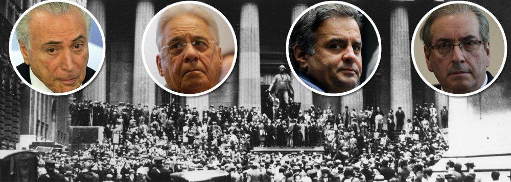 """O golpe contra a democracia, liderado pela aliança entre Aécio Neves, Eduardo Cunha, Fernando Henrique Cardoso e Michel Temer, fez com que o Brasil tivesse a maior depressão econômica desde a quebra da bolsa de Nova York, em 1929; em 2016, a queda do PIB será de 3,6%, depois de um tombo de 3,8% em 2015; números só não são piores do que os da depressão de 1930 e 1931, que foram consequência do crash norte-americano; em 2015, o PIB desabou com a aliança pelo """"quanto pior, melhor"""", entre peemedebistas e tucanos, que visava criar as condições para o golpe; em 2016, o País afundou ainda mais com a incapacidade de Michel Temer de governar; a autodestruição brasileira é um caso inédito no mundo, que já produziu 7 milhões de desempregados"""