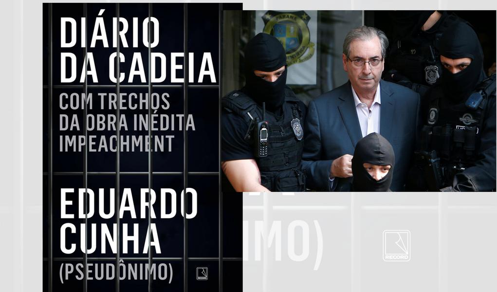 """O livro """"Diário da cadeia"""", assinado por ninguém menos que """"Eduardo Cunha"""", chega às livraria no dia 27 deste mês; ninguém sabe, porém, quem é o verdadeiro autor do livro, uma vez que o nome do autor é um pseudônimo; de modo intencional, a editora embaralha a realidade e estampa na capa uma referência ao livro que Cunha (o verdadeiro) prometeu escrever na cadeia, intitulado """"Impeachment"""""""
