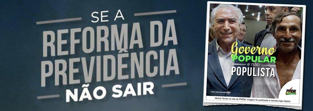 """Planalto postou uma imagem do """"presidente popular, não populista"""", com Michel Temer ao lado de um trabalhador; depois, retirou do ar, por se dar conta de que não funcionaria; nas redes sociais, nada menos que 89% das menções a Temer são negativas"""