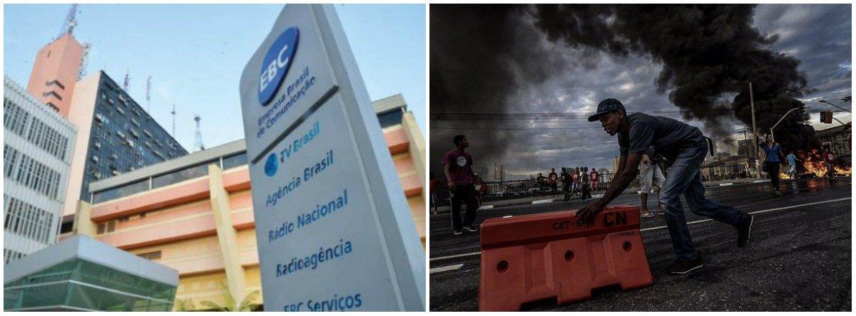 """""""O governo golpista de Michel Temer (PMDB) está mesmo a cada dia mostrando a sua cara. Como se não bastasse ter acabado com o Conselho Curador, onde se encontravam representantes da sociedade civil e reforçava a mídia pública, naEmpresa Brasil de Comunicação (EBC)hoje predomina a censura. Foi demitido o coordenador geral de jornalismo daAgência Brasil, o jornalista André Muniz. Motivo: a Agência cobriu um ato do Movimento dos Trabalhadores Sem-Teto (MTST)"""", diz o jornalista Mário Augusto Jakobskind, do Brasil de Fato;""""É dessa forma que age o espaço estatal representado pela EBC, presidida por um tal de Laerte Rimoli, um protegido e indicado pelo deputado cassadoEduardo Cunha"""""""