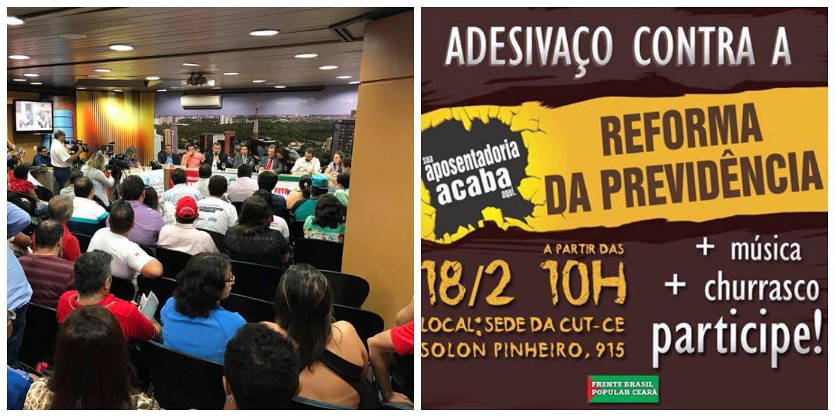 """Os movimentos sociais de Fortaleza, através da Frente Brasil Popular do Ceará e da Frente Povo Sem Medo mobilizam forças para enfrentar o projeto de reforma da previdência do Governo de Michel Temer, que retira direitos dos trabalhadores. Ontem (16) foi realizado uma audiência pública na Assembleia Legislativa, com a participação do ex-ministro do Desenvolvimento Social, Carlos Gabas . Amanhã (18), haverá um """"adesivaço"""", a partir das 10 horas, em frente a sede da CUT, para distribuição de material denunciando os prejuízos que a reforma da previdência traz para a população"""