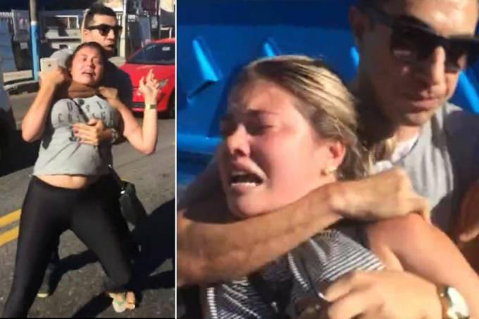 """Uma mulher que participava de um protesto de familiares de policiais em frenteao 7º Batalhão da Polícia Militar (BPM) de São Gonçalo, no Rio de Janeiro, tomou uma gravata de um oficial militar e foi arrastada com violência para dentro da viatura; a cena foi filmada; ao todo, ele levou três mulheres para a delegacia; ao redor, outras mulheres da manifestação gritavam para que ele a soltasse e o chamavam de """"covarde""""; assista"""