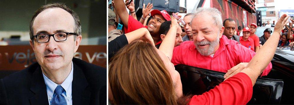 """""""Os inocentes acham que o PT é carta fora do baralho. O partido não vai bem das pernas. Lula sempre foi outra coisa, e não percebê-lo constitui erro fatal, que se está cometendo de novo"""", escreve o blogueiro de Veja; no mesmo post, ele afirma que """"é possível combater a corrupção e o crime sem desrespeitar a lei. E a Lava Jato desrespeita"""""""