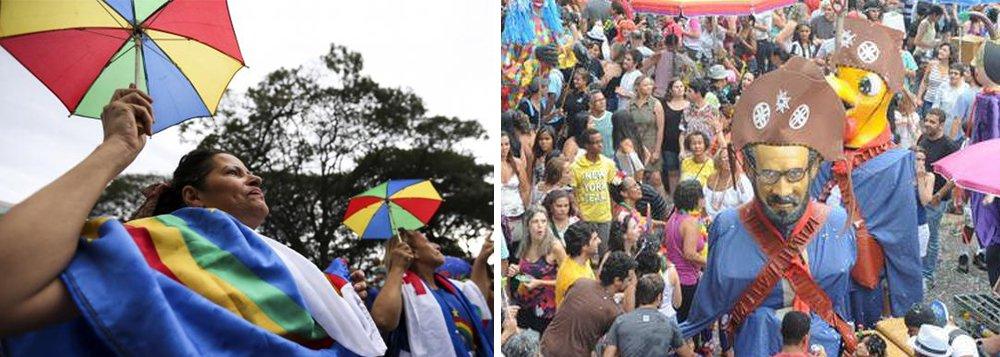 O frevo e o samba se uniram no Galinho de Brasília, bloco tradicional que há 25 anos movimenta o carnaval da cidade; embora o frevo seja o ritmo que embala o bloco, inspirado no Galo da Madrugada de Recife, a festa teve a participação da bateria da escola de samba Associação Recreativa Unidos do Cruzeiro (Aruc); Pandeiro, tamborim, passistas e porta-bandeira aqueceram o público que depois dançou ao som do frevo; não faltaram fantasias com perucas coloridas, tiaras com orelhinhas de coelho e gato, mulheres com bigode, homens vestidos de mulher, confete e serpentina
