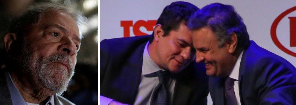 A defesa do ex-presidente Lula apresentou ao Superior Tribunal de Justiça um pedido de habeas corpus solicitando a nulidade do processo em que o petista responde por corrupção passiva e lavagem de dinheiro no Paraná e o afastamento do juiz Sérgio Moro do caso, quem os advogados acusam de parcialidade; como exemplos, citamos advogados alegam que o juiz teria inclinações políticas e confraternizaria com seus opositores, como no caso do senador Aécio Neves (PSDB-MG), além da condução coercitiva contra Lula; a defesa alega ainda que a 13ª Vara de Curitiba,onde tramita a ação penal contra Lula, não teria competência territorial para julgar sobre um imóvel no Guarujá, litoral de São Paulo