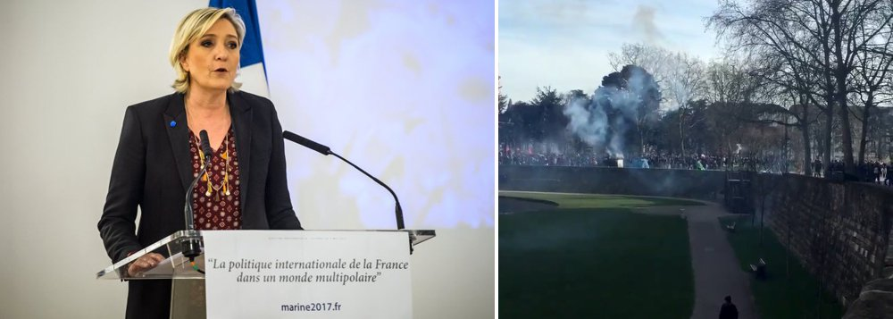"""Tropa de choque da polícia francesa usou bombas e gás lacrimogênio para conter o protesto contra discurso líder da extrema-direita Marine Le Pen, neste domingo, 26, em Nantes; manifestantes, muitos com máscaras, lançaram bombas de fumaça e até coquetéis molotov contra policiais durante os protestos; durante os protestos muitos participantes gritavam """"Todo o mundo odeia polícia!""""; duas pessoas acabaram detidas para identificação e pelo menos um policial foi levado ao hospital com queimadura na perna, informou o jornal regional francês Ouest-France"""