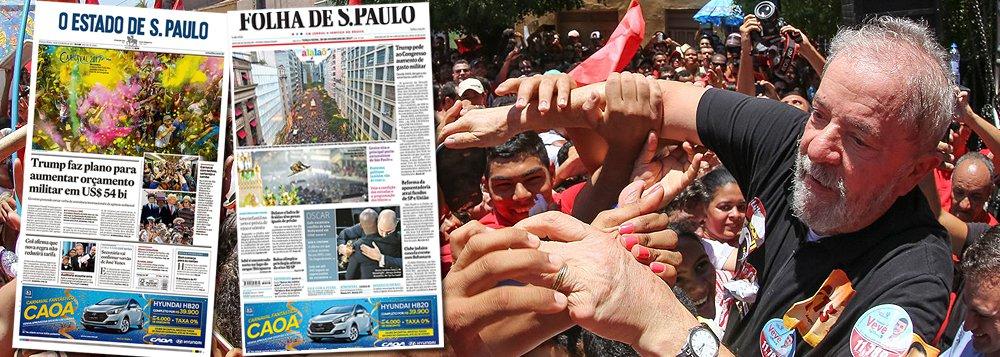 """Nesta terça-feira 28, os dois principais jornais de São Paulo, Folha e Estado, concentram suas forças em pressionar o Judiciário para que a condenação do ex-presidente Lula aconteça rapidamente, a tempo de impedir que o petista se candidate à presidência em 2018; reportagem da Folha dá como certa a condenação de Lula pelo juiz Sergio Moro em primeira instância e prevê que a condenação em segunda instância ocorra entre julho e outubro, em plena campanha presidencial; editorial do Estadão afirma que """"a derrota do petista é certa"""" no campo jurídico, uma vez que, segundo o jornal, """"sobram provas contra ele""""; desespero toma forma poucos dias após pesquisa mostrar Lula liderando a disputa para presidente"""