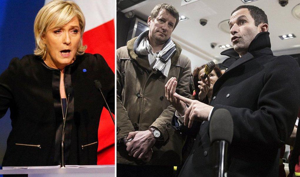 """Candidatos à Presidência da França Benoît Hamon, do Partido Socialista, e Jean-Luc Mélenchon, do movimento de esquerda França Insubmissa, descartaram nesta segunda-feira, 27, uma candidatura única da esquerda francesa para fazer frente à ultradireitista Marine Le Pen nas eleições marcadas para o fim de abril; """"A 50 dias do primeiro turno, não é possível sanar as diferenças que, por exemplo, nos separam em torno de temas essenciais como a questão da União Europeia"""", disse Mélenchon, acrescentando que ele e Hamon decidiram prosseguir com suas candidaturas próprias e acordaram """"um código de respeito mútuo durante a campanha"""""""