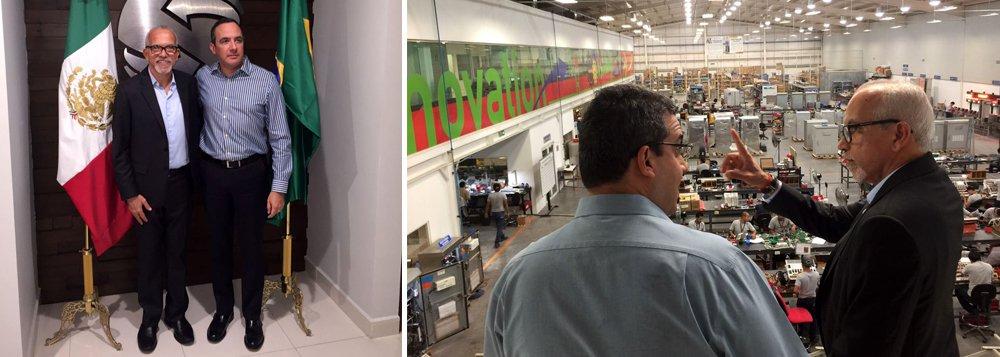 O prefeito de Aracaju, Edvaldo Nogueira, visitou, em Monterrey, no México, a fábrica de uma empresa que produz semáforos inteligentes e controladores de tráfego, entre outros equipamentos voltados para o trânsito; visita foi a primeira parada da viagem de trabalho realizada pelo gestor para conhecer soluções de mobilidade urbana;viagem não gerou custos para a prefeitura