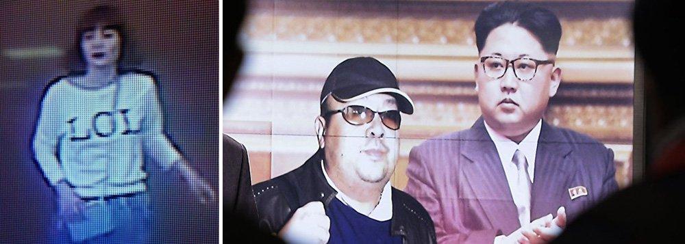"""Autoridades daMalásia anunciaram nesta quarta-feira (15) que foi presa uma mulher suspeita de ter participado do assassinato do meio-irmão do líder da Coreia do Norte, Kim Jong-um; segundo a polícia malaia, a suspeita portava um passaporte vietnamita e foi detida nesta no aeroporto internacional de Kuala Lumpur; câmeras de vigilância do Aeroporto Internacional de Kuala Lumpur capturam imagem de uma das suspeitas do assassinato, relata o jornal Malay Mail; na foto, pode-se ver uma mulher de meia-idade e de origem asiática vestida com um suéter, onde está escrita a gíria """"LOL"""", e uma saia azul"""