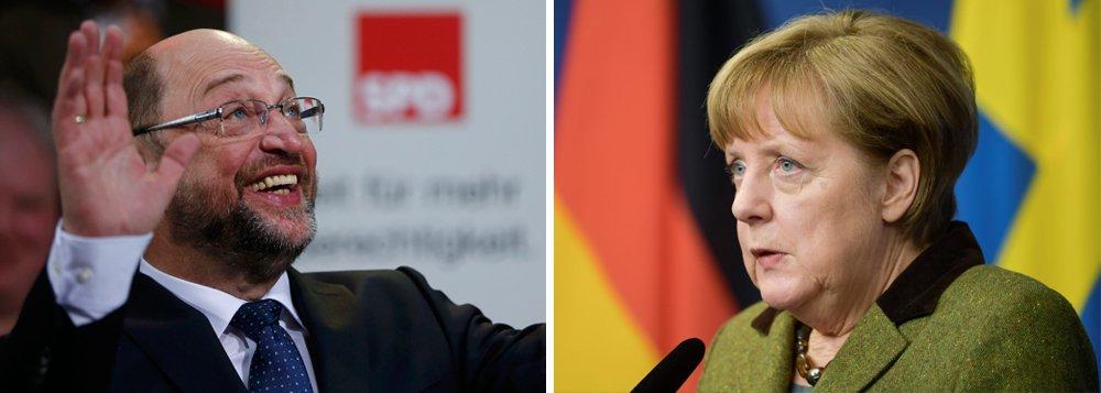 Partido Social-Democrata da Alemanha (SPD) ultrapassou os conservadores da chanceler Angela Merkel em pesquisa realizada pela Infratest pela primeira vez desde outubro de 2006, a poucos meses da eleição federal de setembro; pesquisa colocou o SPD, que ganhou força após nomear o ex-presidente do Parlamento Europeu Martin Schulz como candidato, com 32%, enquanto o bloco conservador de Merkel teria 31%