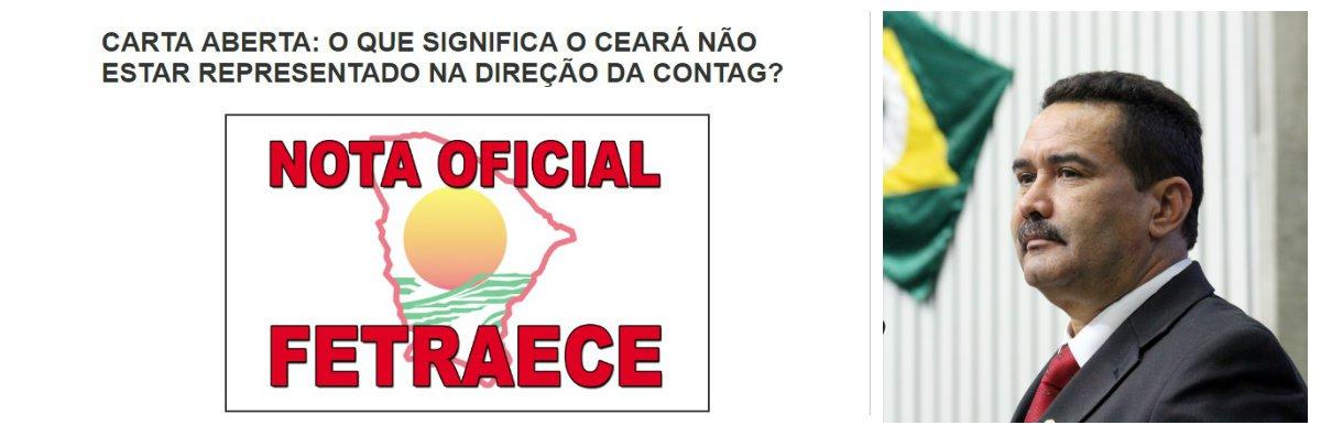 Disputas internas poderão deixar a representação do Ceará fora da nova direção daConfederação Nacional dos Trabalhadores Rurais (Contag). A nova direção da Contag deverá ser eleita durante a realização 12º Congresso Nacional de Trabalhadores Rurais Agricultores e Agricultoras Familiares,marcado para o período de 13 a 17 de março de 2017, em Brasília.Em repúdio a exclusão da representação do Ceará na chapa que disputará a eleição, a Fetraece divulgou uma Carta Aberta, manifestando sua indignação.O deputado estadual Moisés Braz, ex-presidente da Fetraece, também divulgou Nota Pública, repudiando a exclusão do Ceará
