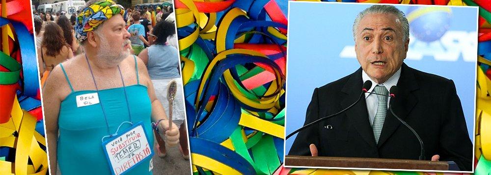 """Jornalista Luis Simon, comentarista de Esporte do UOL, exibiu uma das melhores fantasias no carnaval de São Paulo nessa segunda-feira, 27; fantasiado da chef de cozinha e apresentadora Bela Gil, Menon, como é conhecido o jornalista, segundo o seu ex-colega de redação Renato Rovai, trazia a dica para os brasileiros, especialmente os que apoiaram a deposição ilegal da da presidente Dilma Rousseff; """"Você pode substituir Temer por Diretas Já"""", sugere"""
