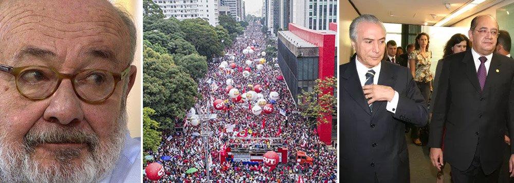 """Jornalista Ricardo Kotscho criticou nesta quinta-feira, 16, a disparidade entre as realidades existentes no Brasil; no dia em que mais de um milhão de pessoas foram às ruas do país protestar contra a reforma da Previdência, o presidente do Tribunal Superior Eleitoral (TSE), Gilmar Mendes, recebia Michel Temer e aliados para um jantar de gala, em homenagem ao aniversariante José Serra (PSDB); """"O poder de um lado, comemorando, e o povo do lado oposto, protestando, cada vez mais distantes um do outro. Em algum momento, estes dois mundos que habitam o mesmo país vão ter que se encontrar frente a frente"""""""
