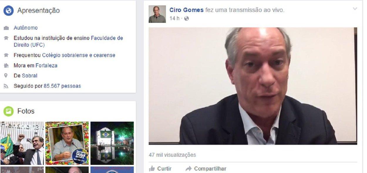 Pré-candidato a presidência pelo PDT, Ciro Gomes debateu ontem com internautas pelo Live Video do Facebook. Durante a transmissão de mais de uma hora, Ciro conversa entre outros temas, sobre a crise política, a corrupção, economia, reforma da previdência e sua pré-candidatura. Ontem, segundo pesquisa da CNT/MDA, Ciro aparece em último lugar, com 0,4% de intenção de votos nas respostas espontâneas e nas respostas estimuladas, aparece e quinto lugar