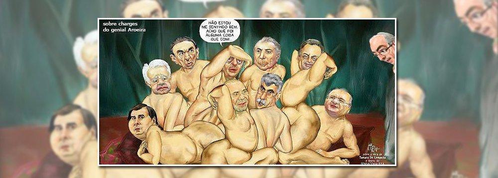 """Cartunista Aroeira criticou nesta sexta-feira, 24, a """"suruba"""" em torno do golpe parlamentar que retirou a presidente Dilma Rousseff do poder em 2016; entre os participantes da """"orgia"""" estão os senadores Romero Jucá (PMDB), que cunhou o termo ao se referir ao foro privilegiado, Aécio Neves (PSDB), Renan Calheiros (PMDB), Edison Lobão (PMDB), além do presidente da Câmara, Rodrigo Maia (DEM), os ministros Eliseu Padilha, Moreira Franco e Michel Temer; deputado cassado Eduardo Cunha observa a """"festa"""" de fora; """"Não estou me sentindo bem. Acho que foi alguma coisa que comi"""", diz o senador José Serra"""