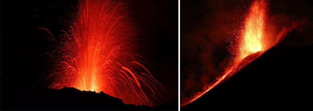 Vulcão Etna, na ilha italiana da Sicília, entrou em erupção e mostrou nas últimas horas desta terça-feira, 28, grandes explosões incandescentes, emissões de cinzas e vazamento de lava; não há riscos para moradores da região; Etna tem 3.322 metros de altura e está situado na parte leste da ilha da Sicília, entre as províncias de Messina e Catânia
