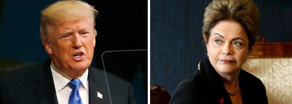 """""""Ao afirmar que pode destruir um país, Trump evidencia sua posição belicista, baseada na ameaça de um holocausto nuclear"""", disse a presidente deposta Dilma Rousseff, em nota divulgada nesta quarta-feira; ela lembrou ainda queTrump ataca Cuba, promete romper o acordo nuclear com o Irã e exige apoio a uma intervenção na Venezuela; """"É lamentável que o governo ilegítimo do Brasil tenha se curvado a Trump e se calado diante das suas ameaças de intervenção na Venezuela"""", escreveu ainda a presidente"""