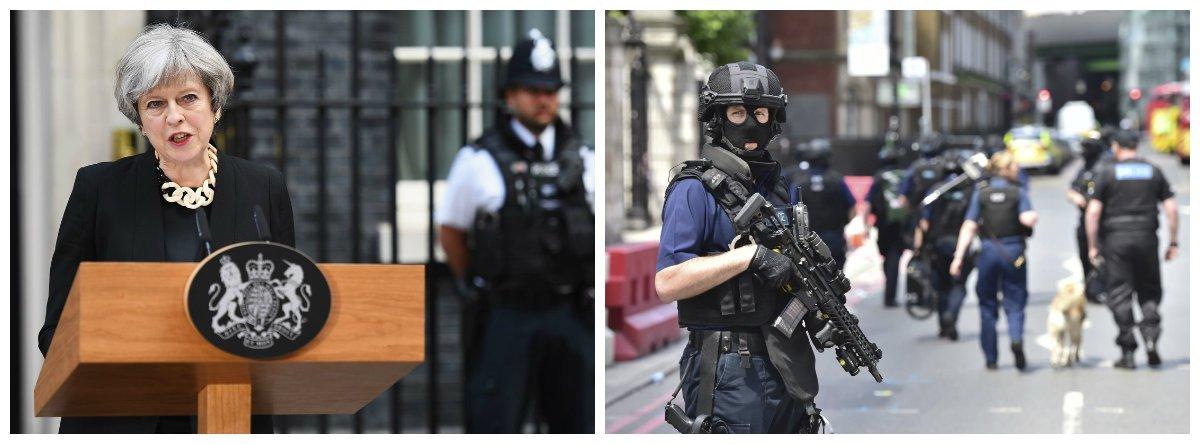 Primeira-ministra britânica, Thereza May, e polícia antiterror; Londres, Inglaterra, terrorismo .2