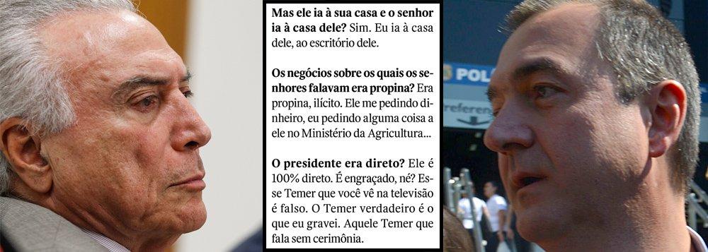 """Em sua entrevista à jornalista Thais Oyama, publicada neste fim de semana, o empresário Joesley Batista revelou a natureza da sua relação com Michel Temer; """"Era propina, ilícito. Ele me pedindo dinheiro, eu pedindo alguma coisa a ele no Ministério da Agricultura"""", afirma; nunca antes na história do Brasil um ocupante da presidência da República foi acusado de forma tão direta por um grande empresário; em nota, Temer chamou Joesley de """"grampeador-geral da República"""" e recebeu uma dura resposta, imediatamente, ao ser classificado pelo dono da JBS como """"ladrão-geral da República""""; na guerra entre os dois, Temer usa a máquina do Estado para quebrar a J&F e afastar a família do comando de suas empresas"""