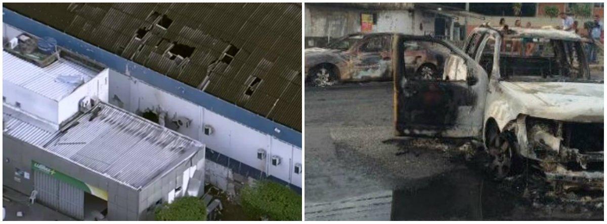 Cerca de 30 bandidos assaltaram a transportadora de valores Brink's; houve explosões e três policiais militares ficaram feridos; para dificultar a ação policial, bandidos fizeram cinco pontos de bloqueio nas proximidades da empresa e incendiaram cinco carros; as ações dos assaltantes aconteceram em três bairros; de acordo com o comandante da PM, coronel Ivanildo Maranhão, os criminosos levaram a quantia que estava no cofre; o valor gira em torno de R$ 60 milhões