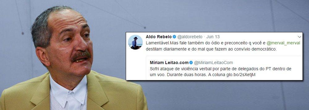 """Ex-ministro dos governos Lula e Dilma, o alagoano Aldo Rebelo (PCdoB) usou as redes sociais para se posicionar sobre os supostos ataques que a jornalista Miriam Leitão teria sofrido, durante um voo, de militantes do PT; Aldo disse que o ataque a Miriam até seria lamentável, mas que ela e o jornalista Merval Pereira destilam diariamente """"ódio e preconceito"""" além de """"fazerem mal ao convívio democrático"""""""