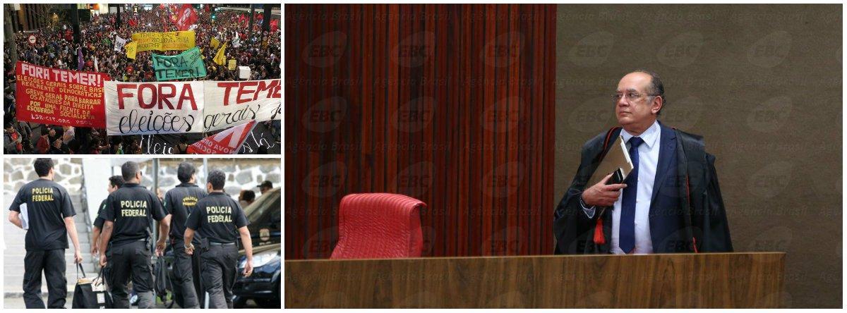 """""""Hoje não há mais Estado de direito no Brasil. Os direitos de todos estão em mãos de gângsters políticos como Gilmar Mendes. Seu sucesso, a forma como ele circula entre a presidência da República, onde orienta o acusado MT, como conchava com Aécio Neves como se fosse um membro mais da bancada do PSDB, como manobra no TSE e no STF como grande coordenador político dos destinos do golpe"""", afirma o sociólogo e cientista político Emir Sader; ele destaca que """"os destinos do país são hoje decididos entre as posições dos grandes monopólios privados dos meios de comunicação, as eventuais maiores no Congresso, as manipulações das distintas instâncias do Judiciário e da Polícia Federal, tudo diante de um povo atônito e impotente para participar das decisões sobre o futuro do país"""""""