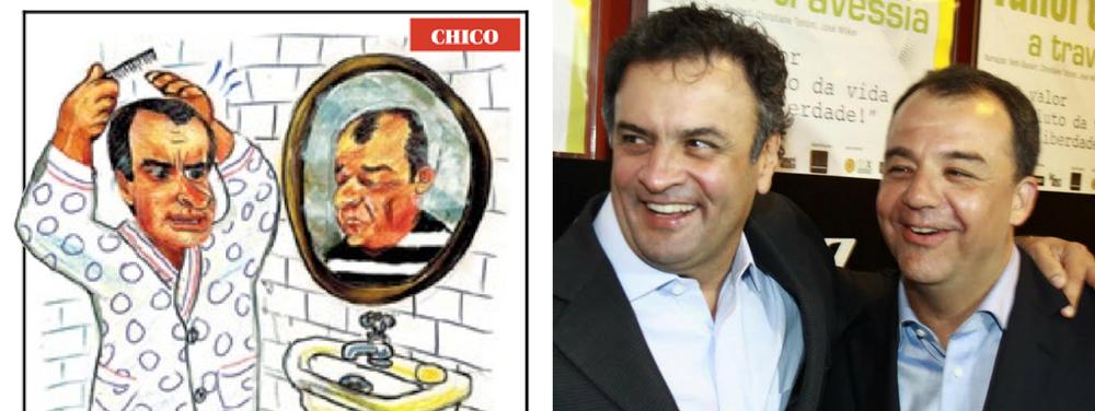O cartunista Chico Caruso publicou nesta segunda, na capa do jornal O Globo, uma charge em que mostra o senador afastado Aécio Neves (PSDB-MG) se olhando no espelho e vendo o retrato do ex-governador do Rio Sérgio Cabral, hoje na cadeia após diversas denúncias de corrupção