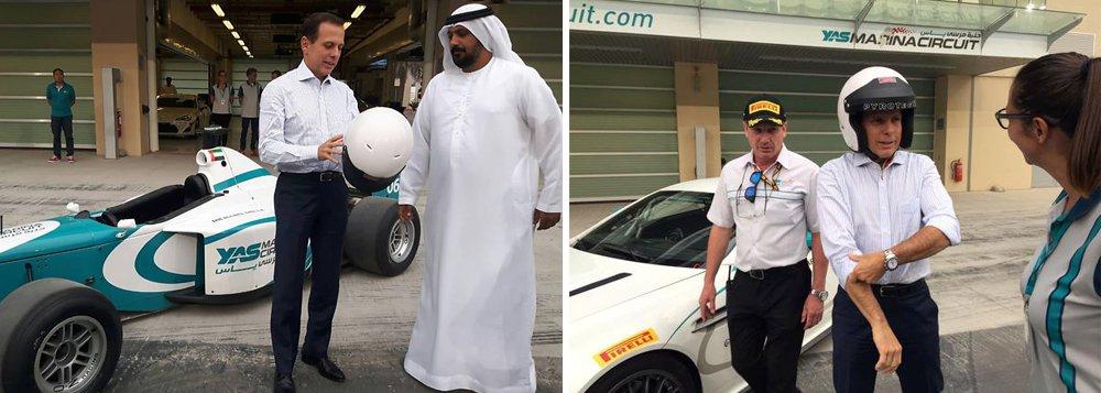 Num tour pelos Emirados Árabes, o prefeito João Doria disse que o autódromo de Abu Dhabi, subsidiado por petrodólares, pode ser modelo para Interlagos; de quebra, ele aproveitou para brincar de piloto de corridas, enquanto prometia trazer dinheiro árabe para a capital paulista