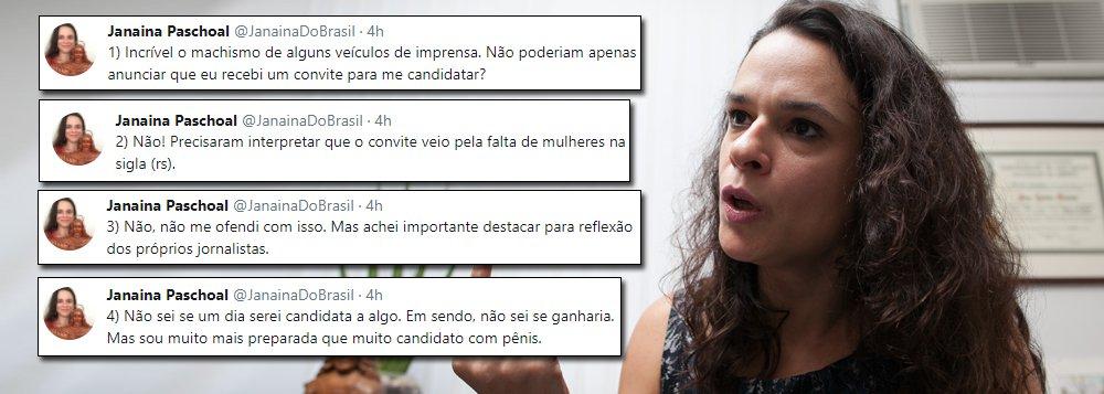 """Responsável pelo parecer das """"pedaladas fiscais"""", que embasou o golpe contra a presidente honesta Dilma Rousseff e colocou no poder Michel Temer, denunciado por corrupção, advogada Janaina Paschoal, admitiu ter recebido um convite do Partido da Mulher Brasileira para se candidatar – e não fechou as portas; """"Não sei se um dia serei candidata a algo. Em sendo, não sei se ganharia. Mas sou muito mais preparada que muito candidato com pênis"""""""