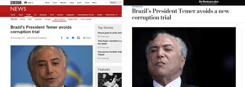 """Resultado da votação da Câmara que arquivou a segunda denúncia contra Michel Temer provocou uma reação de espanto na mídia internacional. Veículos de comunicação de diversos países repercutirem a votação afirmando que Temer se safou"""" apesar da impopularidade """"abismal"""", além de """"negociações frenéticas"""" e diretas para cooptar parlamentares por meio de emendas e cargos; segundo o inglês The Guardian, """"o presidente impopular do Brasil evitou julgamento por corrupção"""" apesar de ostentar """" taxas de aprovação abismais"""", sendo reprovado por mais de 90% da população; para o espanhol El País, as acusações contra o peemedebista """"dão um livro"""""""