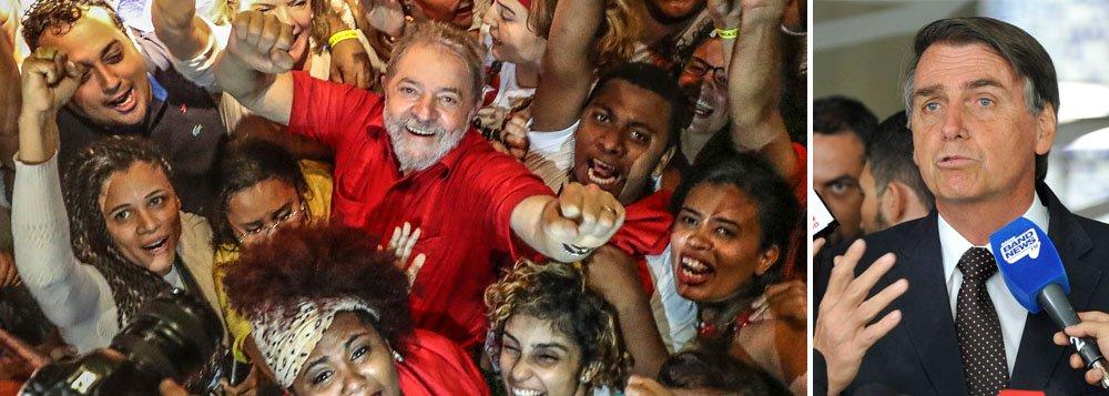 """""""O segundo lugar de Bolsonaro nas pesquisas para 2018 coloca o país diante de duas possibilidades"""", escreve Paulo Moreira Leite, articulista do 247. """"A alternativa A consiste na unidade em defesa da candidatura de Lula, capaz de articular uma frente política para preservar o regime democrático e os direitos do povo diante de uma candidatura fascista"""". Para PML, a alternativa B """"começa com a cassação de Lula, que pode abrir caminho para o caos político que irá ampliar as chances de Bolsonaro"""". """"A preservação de Lula assume, assim, um caráter evidente: proteger a democracia contra a ameaça fascista"""", avalia o jornalista"""