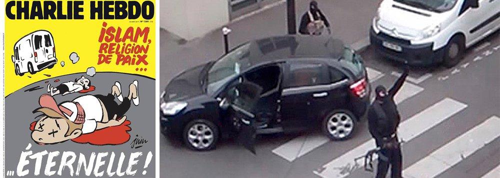 """Semanário satírico francês Charlie Hebdo publicou nesta quarta-feira (23) uma controvertida capa sobre o Islã, dias depois dos atentados extremistas na Espanha; na charge se vê um van se afastar atropelando pessoas, que estão caídas ao chão. Em vermelho, está escrita a frase: """"Islã, religião da paz... eterna!"""";Charlie Hebdo - que perdeu em 2015 vários de seus jornalistas e chargistas quando 12 pessoas foram assassinadas na sede da publicação"""